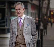 David Evans @ aka Grey Fox Blog arriving at London Fashion Week Mens AW18