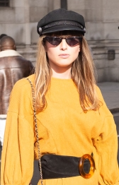 Fashion Blogger Julia Hurley outside Fashion Scout SS19